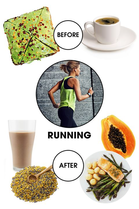 """(*Spin junkies, take note! This applies to you, too.)  <strong>Before: </strong>Going through some heavy digestion while hitting the pavement is not particularly ideal, so try not to have a full meal within a few hours of your jog. But if you're craving a little fuel, nutritionist <a target=""""_blank"""" href=""""http://kimberlysnyder.com/"""">Kimberly Snyder</a> recommends avocado toast as an ideal pre-workout snack. """"When running, you need to give your body carbs to burn,"""" she says. """"And the avocados provide you with a valuable healthy fat that gives you an energetic boost when carbohydrate depletion occurs."""" Then, to put some additional zip in your step, try a caffeine boost. """"Black coffee stimulates adrenaline for a more intense or longer running session,"""" says <a target=""""_blank"""" href=""""http://foodcoachnyc.com/"""">nutritionist Dana James</a>. """"The research on this has been around since the '70s and it's still valid today.""""  <strong>After: </strong>Once the sweat sesh is over, it's about replenishing those nutrients you lost. Larry Twohig, founder of <a target=""""_blank"""" href=""""http://culture.fitness/"""">Culture Fitness</a> in New York City, recommends a simple, balanced meal with salmon, vegetables, and complex carbohydrates as the best way to go about this. Another option is a carefully crafted smoothie—James advises to include papaya, coconut milk, and bee pollen. """"This clever combination helps to restore glycogen levels whilst improving immunity,"""" she says."""