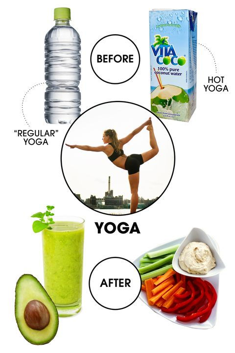 """<strong>Before: </strong>""""When you are in a headstand with a full belly, it is hard to be zen,"""" says Equinox trainer Susan Stanley. With that in mind, it's best to stick to water beforehand—though you can make it coconut water if you're headed to Bikram, says James, since the electrolytes it contains will replenish those lost through excessive sweat.  <strong>After: </strong>It's important to refuel, but keep the zen feeling going by choosing a light but wholesome snack. Snyder recommends a green smoothie chock full of greens, celery, pear, apple, and banana. """"It's filled with complex carbohydrates, amino acids (the building blocks of protein), vitamins, and minerals, but it moves easily through your system and digests thoroughly so it won't weigh you down,"""" she says, and also notes that veggies and hummus have a similar effect if you feel like chewing rather than sipping. James notes that you can also swap that hummus for mashed avocado. """"It's loaded with phytonutrients and antioxidants and prolongs that super virtuous feeling post yoga,"""" she says."""