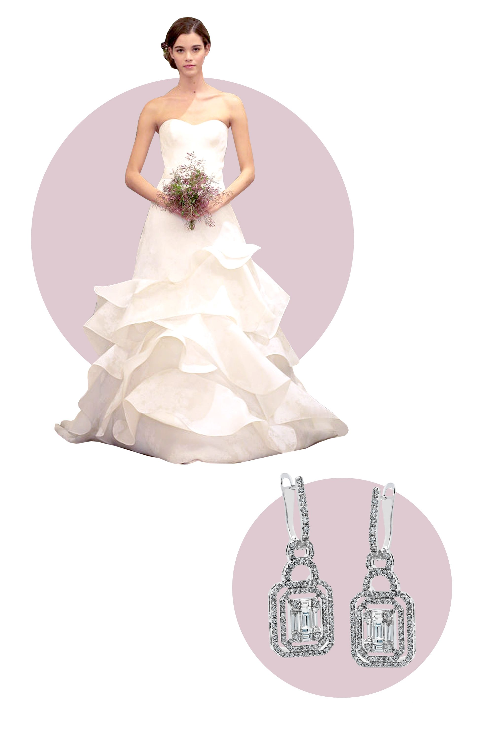 """<p>Embrace the glamorous side of yourself and pair your dramatic ruffle gown with an equally show-stopping pair of diamond drop earrings.</p> <p><em>Simon G. Mosaic Collection Earrings, $5,940; <a target=""""_blank"""" href=""""http://www.simongjewelry.com/product/lp4296-earring/"""">simongjewelry.com</a></em></p> <p><em>Dress, Carolina Herrera Spring 2016</em></p>"""