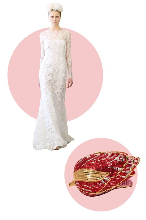 "<p>Let a floral evening clutch echo the motifs in a floral lace gown. (We love how this clutch's Swarovski crystals lend the bride some drama.)</p> <p><em>Judith Leiber Swarovski Crystal Red Rose Minaudiere Evening Bag, $3,100; <a target=""_blank"" href=""https://www.1stdibs.com/fashion/handbags-purses-bags/evening-bags-minaudieres/judith-leiber-swarovski-crystal-red-rose-minaudiere-evening-bag/id-v_357182/"">1stdibs.com</a></em></p> <p><em>Dress, Oscar de la Renta Spring 2016</em></p>"