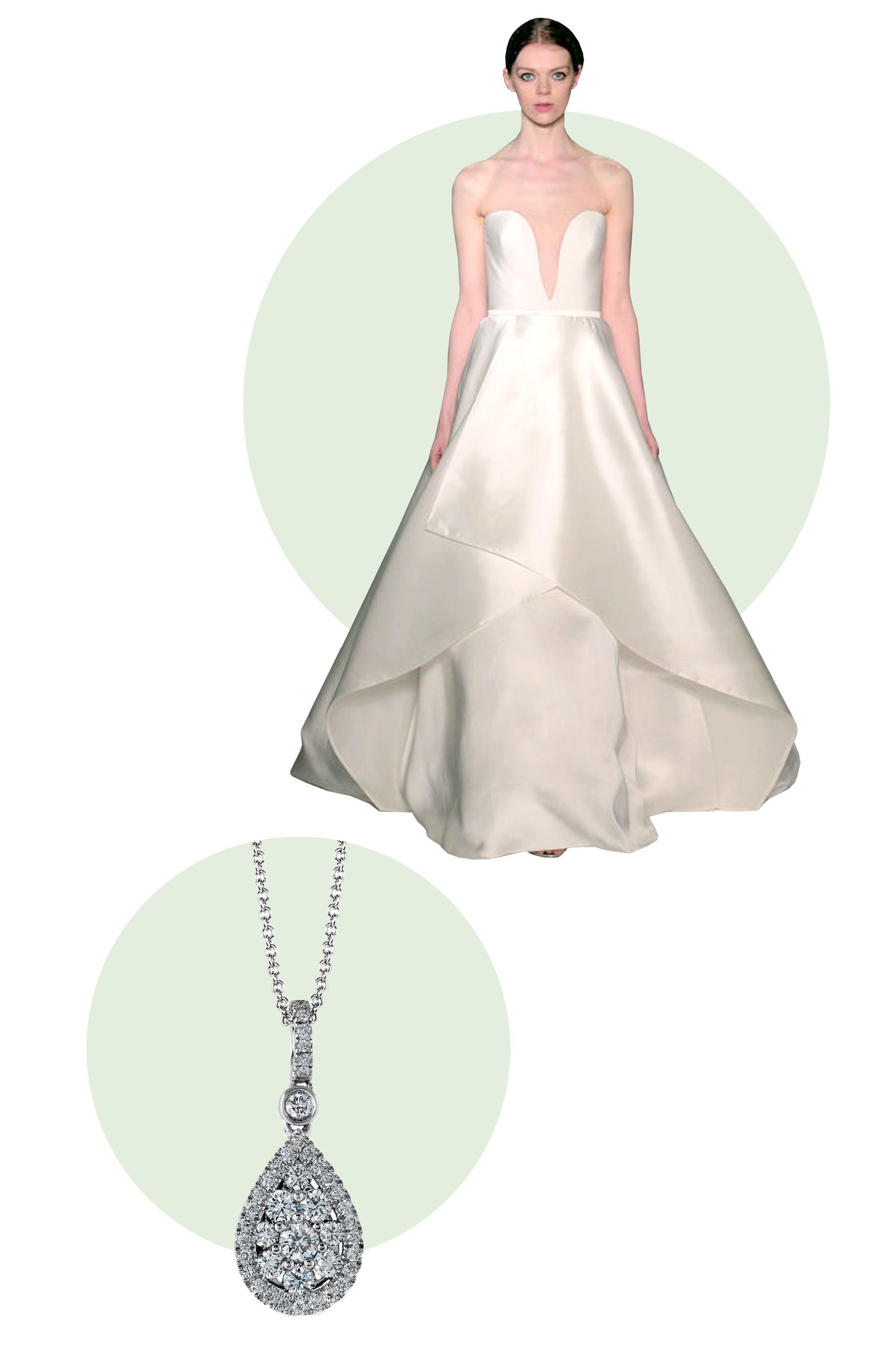 """<p>Add a delicate pendant necklace to a gown with a low v-neck. It will give just the right amount of glitz to an otherwise simple look.</p> <p><em>Simon G. Caviar Collection Pendant, $2,200; <a target=""""_blank"""" href=""""http://www.simongjewelry.com/product/lp4247-pendant/"""">simongjewelry.com</a></em></p> <p><em>Dress, Reem Acra Spring 2016</em></p>"""