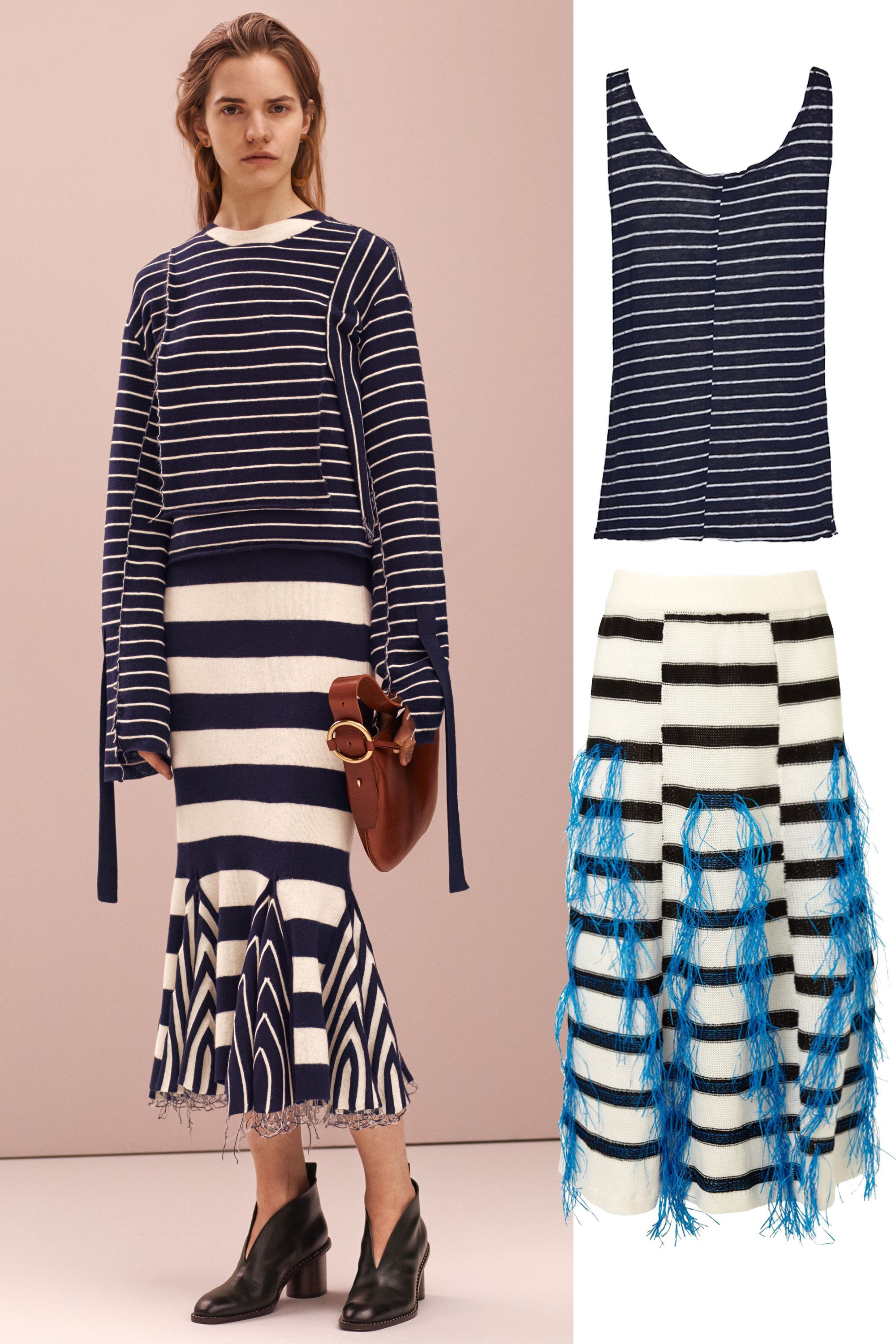 "&lt;p&gt;Mix all your stripes together! It helps that both of these have different base colors&mdash;navy with white accents on top and white with navy accents on bottom. &lt;/p&gt; &lt;p&gt;Frame Striped Tank Top, $88; &lt;a target=""_blank"" href=""http://rstyle.me/~57Szi""&gt;intermixonline.com&lt;/a&gt;&lt;/p&gt; &lt;p&gt;Thakoon White Raffia Fringe Knitted Skirt, $890; &lt;a target=""_blank"" href=""http://rstyle.me/n/z38xkbc6jf http://rstyle.me/n/z38xkbc6jf ""&gt;avenue32.com&lt;/a&gt;&lt;/p&gt; &lt;p&gt; <!--EndFragment-->&lt;/p&gt;"