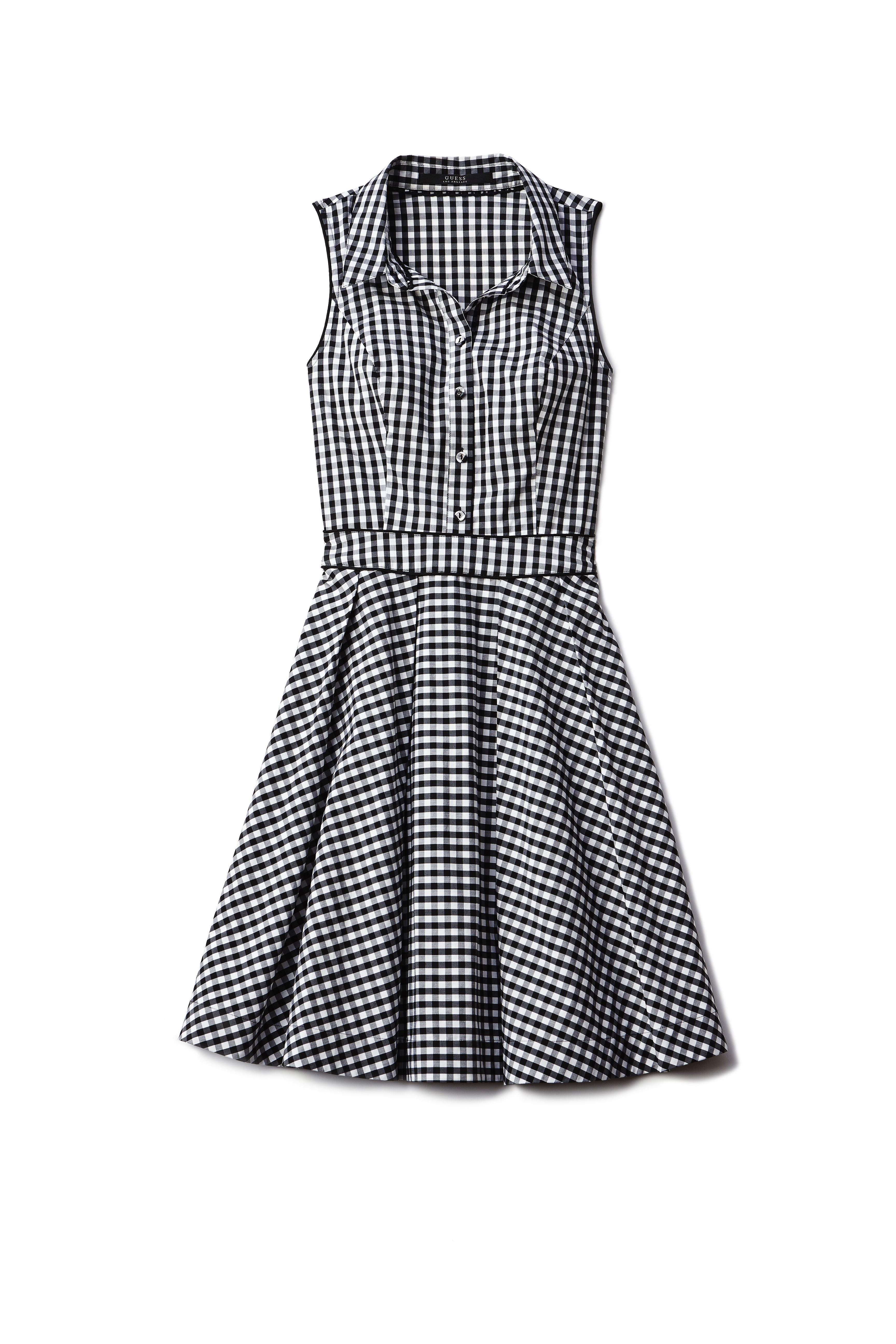 """Guess Sleeveless Gingham Shirtdress, $108; <a target=""""_blank"""" href=""""http://shop.guess.com/en/Catalog/View/women/dresses/sleeveless-gingham-shirtdress/W52K79W6M30"""">guess.com</a>"""