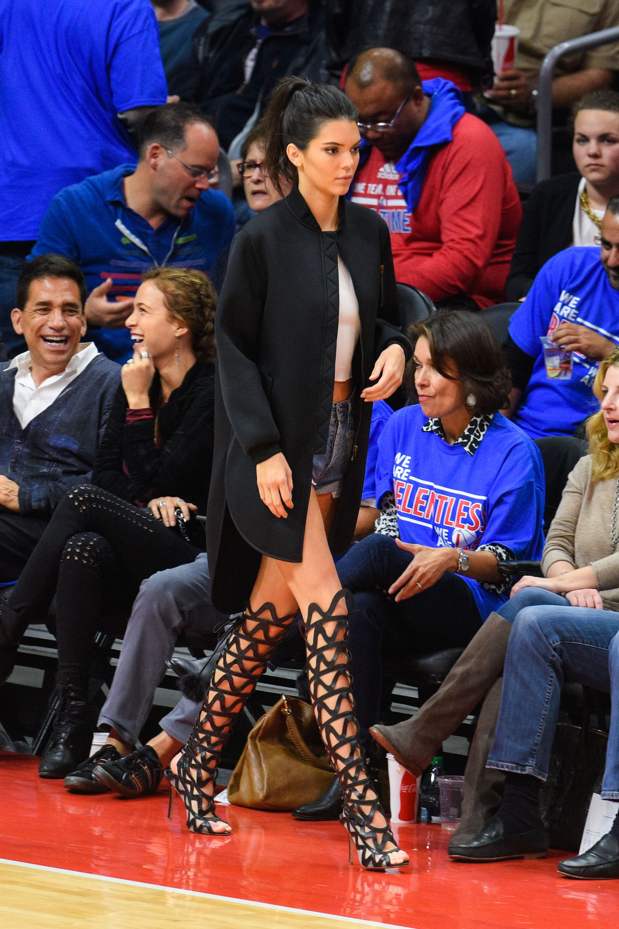 "Who: Kendall Jenner   When: 5/8/2015  Why: Um HELLO! This doesn't even need a why. A few months ago, there was some discussion in the ELLE offices about whether or not it was appropriate to wear heels to a basketball game. I am on team heels, as is Kendall in <a target=""_blank"" href=""http://us.sophiawebster.com/product/view/4918"">these Sophia Webster sandals</a>. I imagine now you are as well."