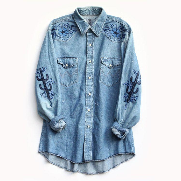 """Bliss and Mischief Face of the Desert Denim Shirt, $638; &lt;a href=""""http://www.blissandmischief.com/faceofthedesert/face-of-the-desert-shirt""""&gt;blissandmischief.com&lt;/a&gt;   <!--EndFragment-->"""