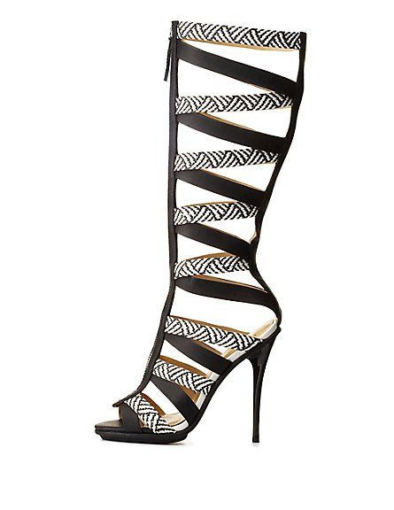 ebea6c4300e Charlotte Russe GX by Gwen Stefani Zip-Up Gladiator Heels