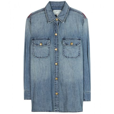 "Current/Elliott The Perfect Denim Shirt, $342; <a href=""http://www.mytheresa.com/en-us/the-perfect-denim-shirt-343790.html"">mytheresa.com</a>   <!--EndFragment-->"