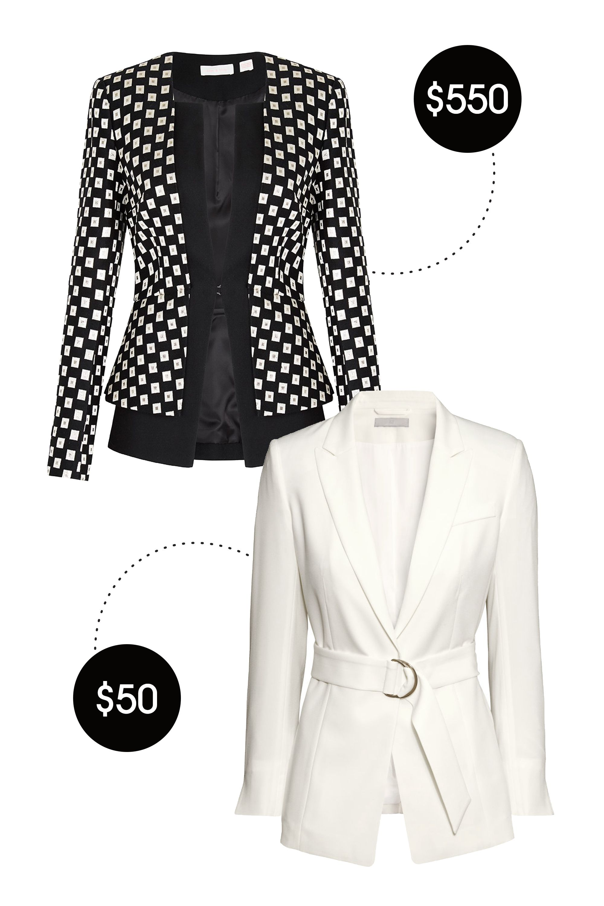 "&lt;p&gt;Sass &amp;amp; Bide Contrasts Voyage Fitted Tailored Blazer, $550; &lt;a href=""https://www.sassandbide.com/us/products/contrasts-voyage-black-gold""&gt;sassandbide.com&lt;/a&gt;&lt;/p&gt; &lt;p&gt;H&amp;amp;M Jacket with Belt, $50; &lt;a href=""http://www.hm.com/us/product/89190?article=89190-C""&gt;hm.com&lt;/a&gt;&lt;/p&gt; &lt;p&gt; <!--EndFragment-->&lt;/p&gt;"