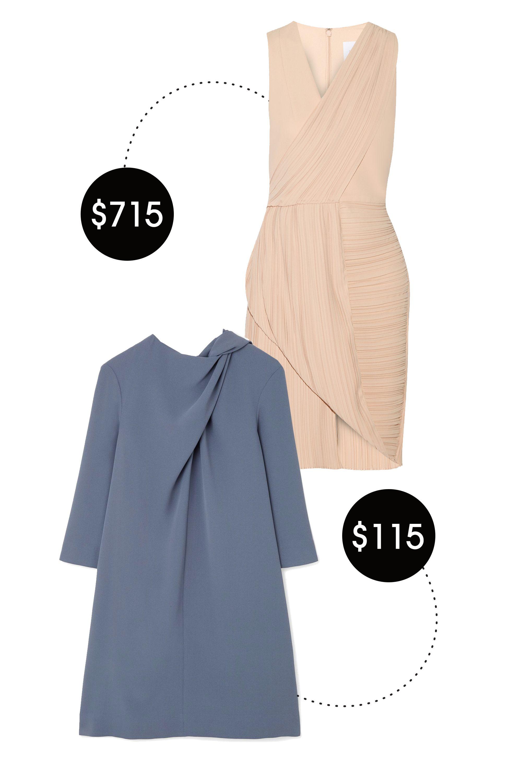 """<p>Dion Lee Wrap-Effect Plissé-Crepe Dress, $715&#x3B; <a href=""""http://www.net-a-porter.com/us/en/product/517758"""">net-a-porter.com</a></p><p>Cos Draped Neck Dress, $115&#x3B; <a href=""""http://www.cosstores.com/us/Women/Dresses/Draped_neck_dress/46881-15666401.1#c-15133303"""">cosstores.com</a></p><p> <!--EndFragment--></p>"""