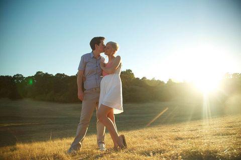 Sun, Photograph, Dress, Happy, People in nature, Sunlight, Summer, Romance, Interaction, Lens flare,