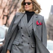 Clothing, Eyewear, Vision care, Coat, Glasses, Collar, Sleeve, Sunglasses, Outerwear, Formal wear,