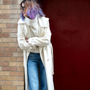 Trousers, Denim, Jeans, Textile, Outerwear, Standing, Pocket, Street fashion, Maroon, Door,