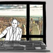 Standing, White-collar worker, Tower block, Animation, Computer, Illustration, Line art, Computer keyboard, Peripheral, Fictional character,
