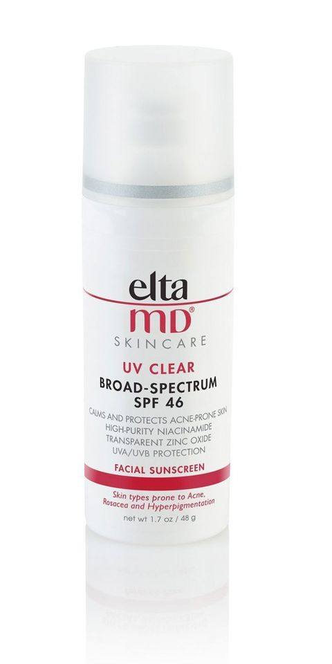 "For breakout-prone ski, ""I'm a big fan of sunscreens that have a high concentration of zinc oxide,"" Jaliman says. ""It's especially helpful if you have a lot of redness and inflammation from acne."" This sheer cream, ""goes on as light as a feather and blends right into the skin.""  <em>EltaMD UV Clear Broad-Spectrum SPF 46, $26; <a target=""_blank"" href=""http://www.amazon.com/Eltamd-Clear-SPF-48-Gram-1-7/dp/B002MSN3QQ"">amazon.com</a>.</em>"