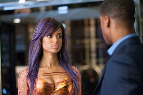 Hairstyle, Coat, Suit, Formal wear, Fictional character, Lavender, Violet, Long hair, Hair coloring, Step cutting,