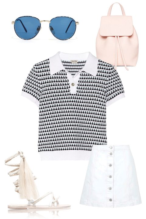"Miu Miu Crochet-Knit Cotton Polo Shirt, $480; <a href=""http://www.net-a-porter.com/product/522870/Miu_Miu/crochet-knit-cotton-polo-shirt"">net-a-porter.com</a>  American Apparel Kim Sunglasses, $35; <a href=""http://store.americanapparel.net/kim-sunglass_kimsg"">americanapparel.net</a>  Mansur Gavriel Mini Backpack, $685; <a href=""http://www.mansurgavriel.com/products/mini-backpack-tumble/rosa"">mansurgavriel.com</a>  Topshop Moto Denim Button Skirt, $52; <a href=""http://us.topshop.com/en/tsus/product/clothing-70483/skirts-70504/moto-denim-button-skirt-4287932?bi=1&amp;ps=200"">topshop.com</a>  Brother Veilles Talitha Sandals, $625; <a href=""http://www.brothervellies.com/site/index.php?route=product/product&amp;path=80&amp;product_id=157&amp;parent=womens"">brotherveilles.com</a>"