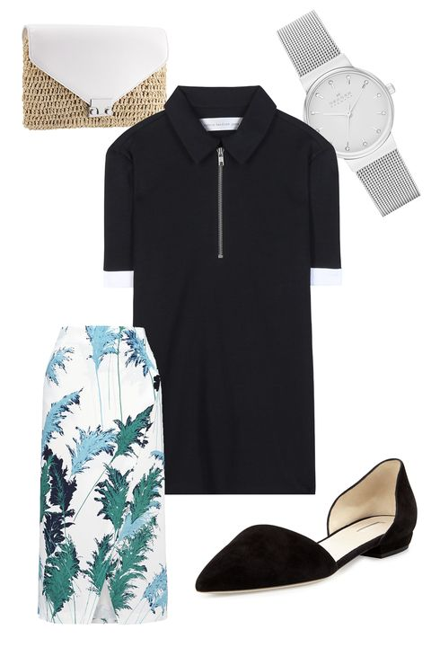 """Victoria Beckham Denim Polo Shirt, $365; <a href=""""http://www.mytheresa.com/en-us/polo-shirt.html"""">mytheresa.com</a>  Loeffler Randall Lock Clutch, $206; <a href=""""http://www.loefflerrandall.com/LRProduct.aspx?ProductID=1335&amp;CategoryID=143"""">loefflerrandall.com</a>  Skagen Ancher Crystal Index Mesh Watch, $145; <a href=""""http://shop.nordstrom.com/s/skagen-ancher-crystal-index-mesh-strap-watch-26mm/3840907?origin=category-personalizedsort&amp;contextualcategoryid=0&amp;fashionColor=&amp;resultback=2063"""">nordstrom.com</a>  Giorgio Armani Suede d'Orsay Slip-On Flat, $625; <a href=""""http://www.bergdorfgoodman.com/Giorgio-Armani-Suede-d-Orsay-Slip-On-Flat-Nero/prod104890008_cat10013__/p.prod?icid=&amp;searchType=EndecaDrivenCat&amp;rte=%2Fcategory.service%3FitemId%3Dcat10013%26pageSize%3D120%26No%3D240%26Ns%3DPCS_SORT%26refinements%3D&amp;eItemId"""">bergdorfgoodman.com</a>  Whistles Pampus Print Wrap Skirt, $168; <a href=""""http://www.whistles.com/women/clothing/skirts/pampus-print-wrap-skirt-19781.html?dwvar_pampus-print-wrap-skirt-19781_color=White%2FMulti#start=1"""">whistles.com</a>"""