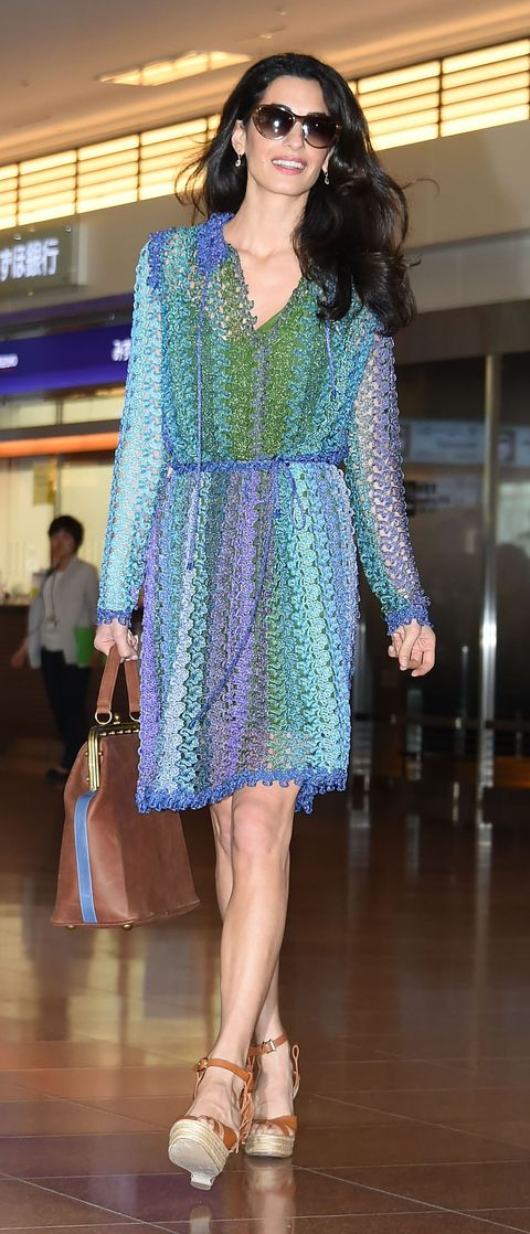 <p>Who: Amal Clooney</p> <p>When: 5/24/2015</p> <p>Why: This is what she looks like when she steps off a plane? Well, ok. A Missoni mini dress and an espadrille sandal is the perfect equation for relaxed summer style.</p>