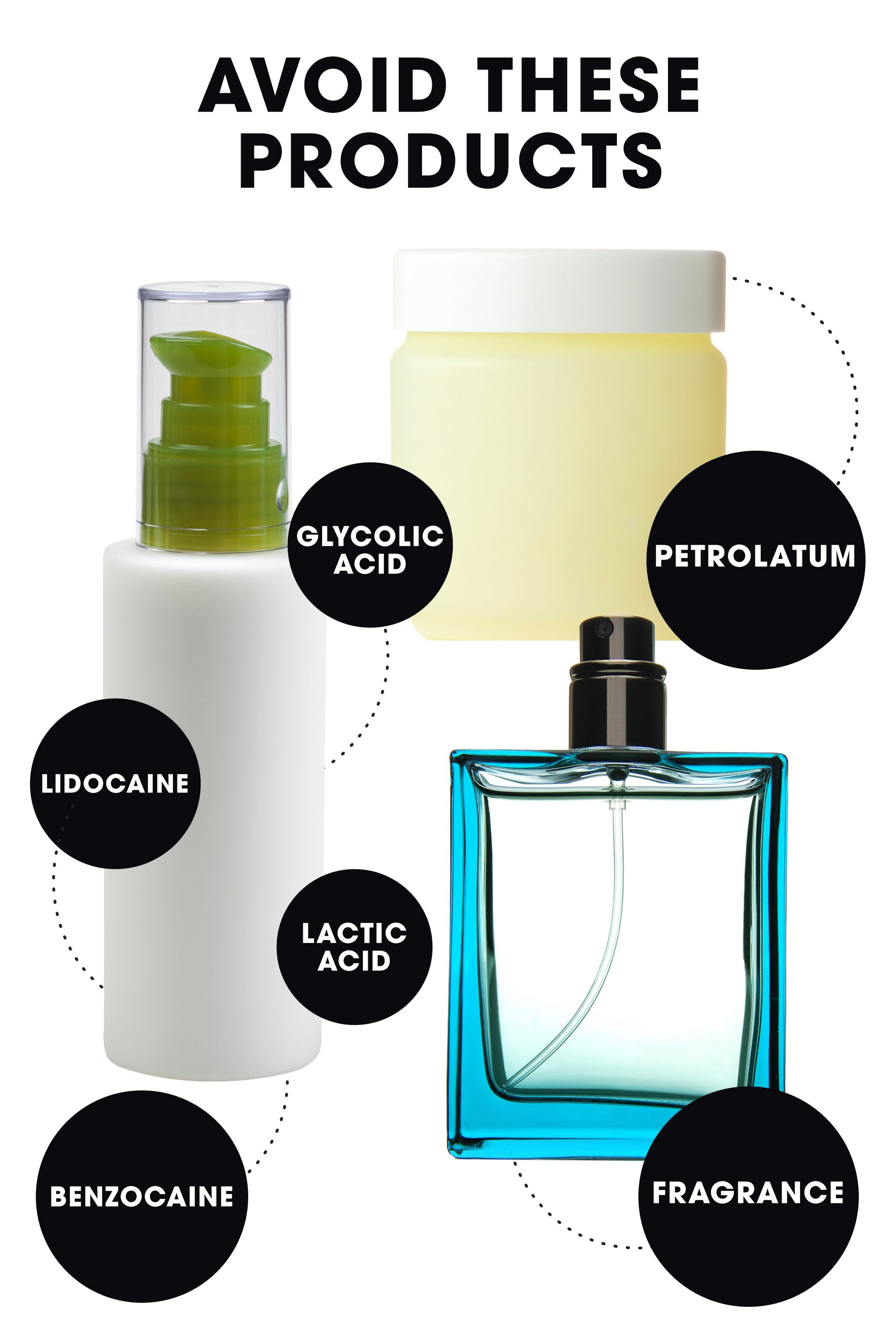 """""""The worst thing you can do for a sunburn is use any fragranced products on the area, or any products containing acids,""""says Jaliman, who notes that glycolic and lactic acids, which are frequently found in acne products, can irritate skin. And while benzocaine and lidocaine actually used to be primary ingredients in sunburn relieving products, most docs (including Jaliman) will now tell you to avoid these as well, since they can often cause further irritation and allergic reactions. Finally, while Vaseline might seem like an obvious skin-nourishing solution, it's not: """"Any product that contains petrolatum will trap the heat in your skin and will not allow it to breathe,"""" she warns."""