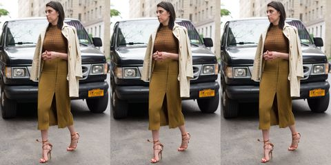 Clothing, Land vehicle, Brown, Vehicle, Trousers, Car, Automotive design, Outerwear, Bag, Street fashion,