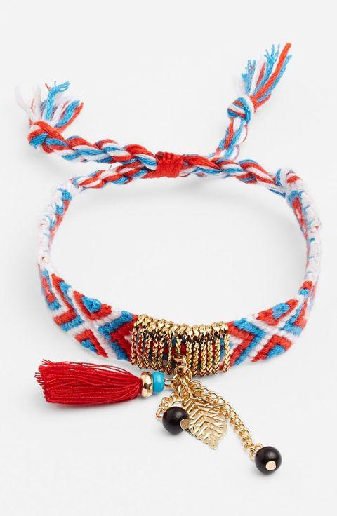 "Cara Tassel Woven Friendship Bracelet, $24; <a target=""_blank"" href=""http://shop.nordstrom.com/s/cara-tassel-woven-friendship-bracelet/3984036"">nordstrom.com</a>"