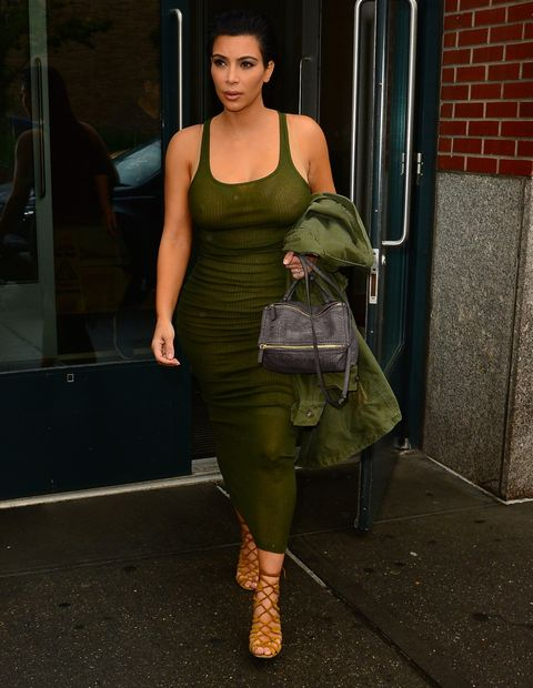 Who: Kim Kardashian  When: 6/2/2015  Why: Just hours after her pregnancy announcement broke the Internet, Kim stepped out in a form fitting green tank dress and matching oversized army jacket, which to me seems like it was borrowed from Ye. In other news, last summer's Hermès sandals are back so everything is off to a great start.