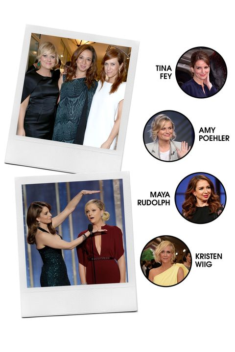 Those who <em>SNL </em>together, stay together—at least in the case of these four, who are largely credited (among many other talented individuals) for helping <em>Saturday Night Live </em>lose some of its boy's club reputation. Now, they're all quite busy with their own major projects and collectively spearheading the feminist comedy movement—but we live for the hilarious occasions when they reunite.   <strong>All-Around Vibe: </strong>Hilarious (with a capital H), but they mean business.  <strong>Preferred PDA: </strong>Hosting awards shows, cameos in each other's projects, and playdates with their kiddos.  <strong>Signature Look: </strong>They can do anything from silly to low-key to red carpet-ready.  <strong>Fringe Members: </strong>Rachel Dratch, Rashida Jones, Melissa McCarthy