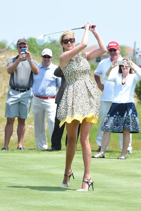 During the opening ceremony of The Trump Golf Links in New York, Ivanka Trump showed off a sensation swing that's all the more impressive considering she slipped her ultra-long stems into strappy stilettos.