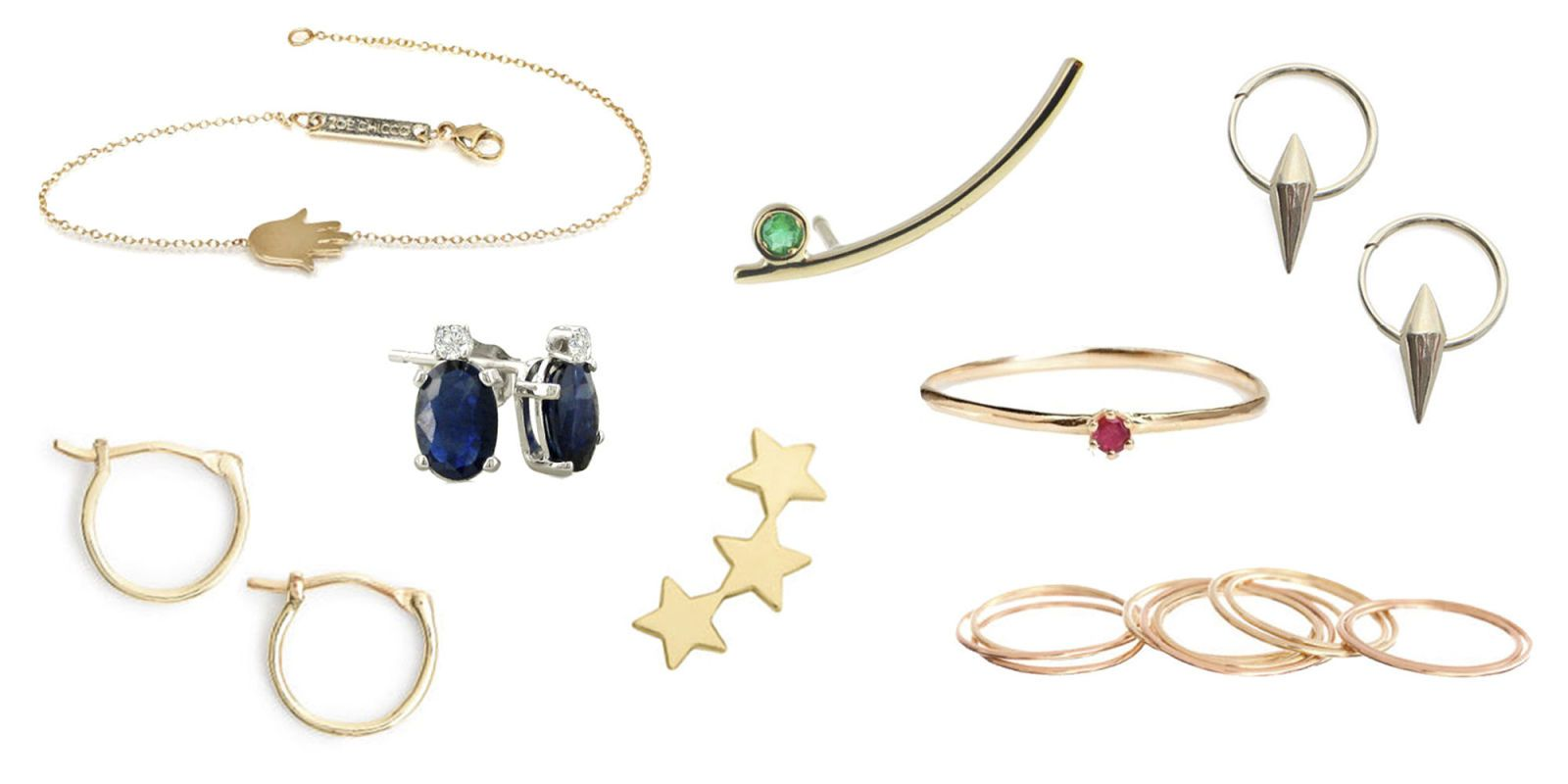 18 Pieces of Delicate Gold and Diamond Jewelry For Under 250