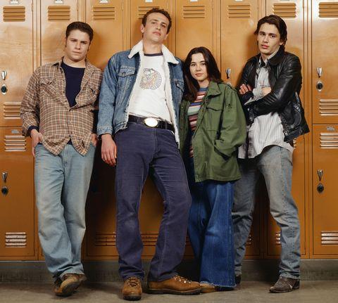 Footwear, Trousers, Denim, Jacket, Shirt, Textile, Outerwear, Coat, T-shirt, Pocket,