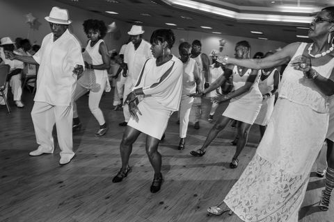 Footwear, Event, White, Hat, Performing arts, Style, Monochrome, Black-and-white, Dance, Choreography,