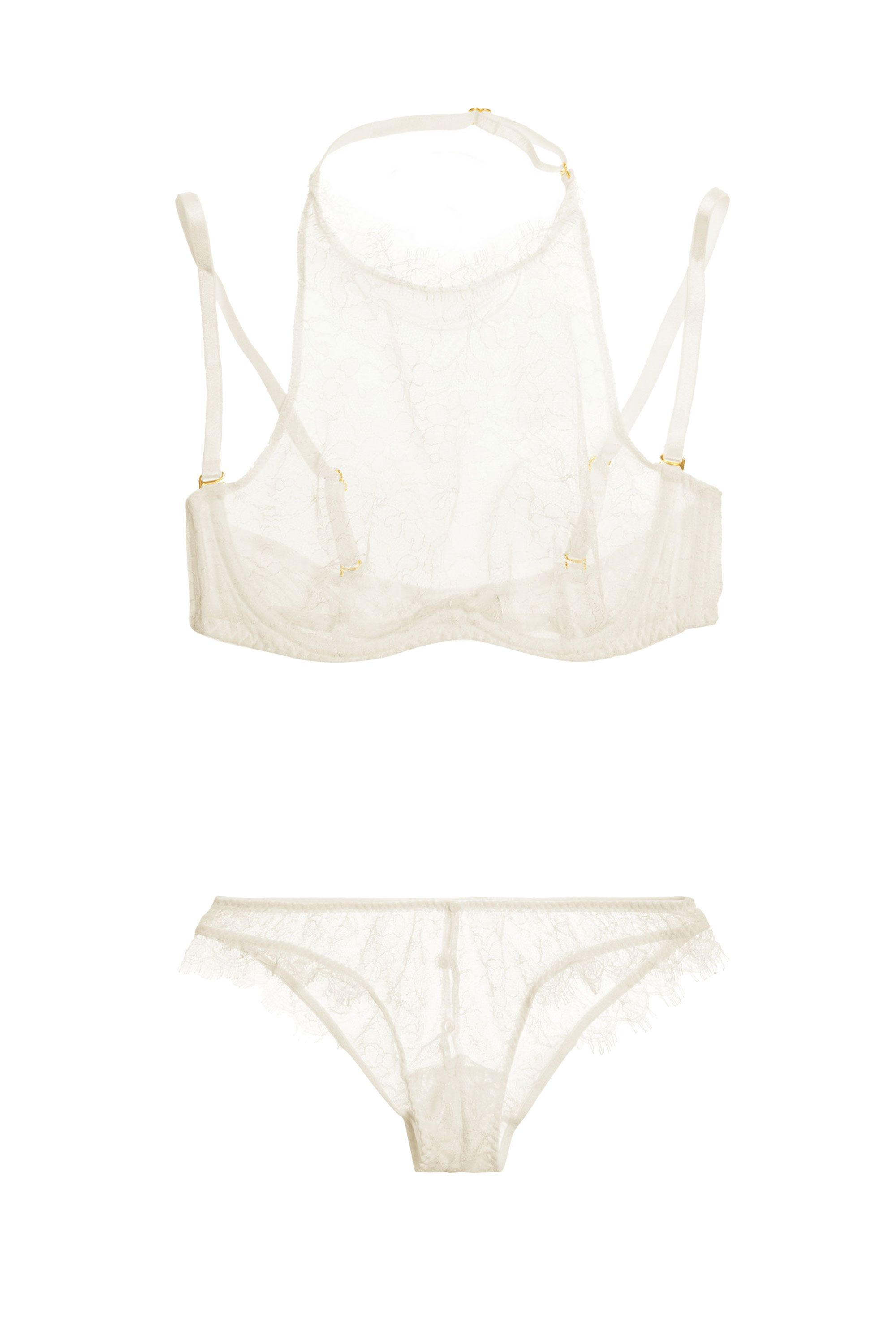 """<p>Agent Provocateur Annoushka Lace Underwired Bra, $320; <a target=""""_blank"""" href=""""http://www.net-a-porter.com/us/en/product/487813"""">net-a-porter.com</a></p><p>Agent Provocateur Annoushka Lace Briefs, $300; <a target=""""_blank"""" href=""""http://www.net-a-porter.com/us/en/product/487814"""">net-a-porter.com</a></p>"""