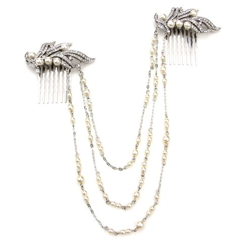 "Ben-Amun Pearl and Crystal Hair Necklace, $420; <a target=""_blank"" href=""http://www.ben-amun.com/shop/bridal/pearl-and-crystal-hair-necklace/"">ben-amun.com</a>"
