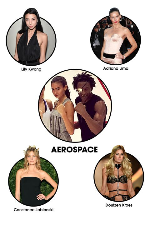 """<strong>The Workout: </strong>After working one-on-one with the likes of Iman, Linda Evanagelista, and Eva Mendes, former boxing champion Michael Olajide now throws punches with some of the hottest bodies in the modeling biz at his airy <a target=""""_blank"""" href=""""http://www.aerospacenyc.com/"""">Chelsea gym in New York City</a>, co-owned by former ballerina Leila Fazel. The goal? To """"sleekify"""" muscles with a unique (and very tough) full-body workout that integrates circuit-training, boxing, and jump-roping. (Victoria's Secret model Kelly Gale <a target=""""_blank"""" href=""""http://www.elle.com/beauty/health-fitness/how-to/a28441/kelly-gale-pop-up-workout-boxing/?visibilityoverride"""">recently gave us an inside look</a>.)  <strong>Celeb Devotees: </strong>Kelly Gale, Constance Jablonski, Doutzen Kroes, Adriana Lima, Lily Kwong, Sebastian Stan"""