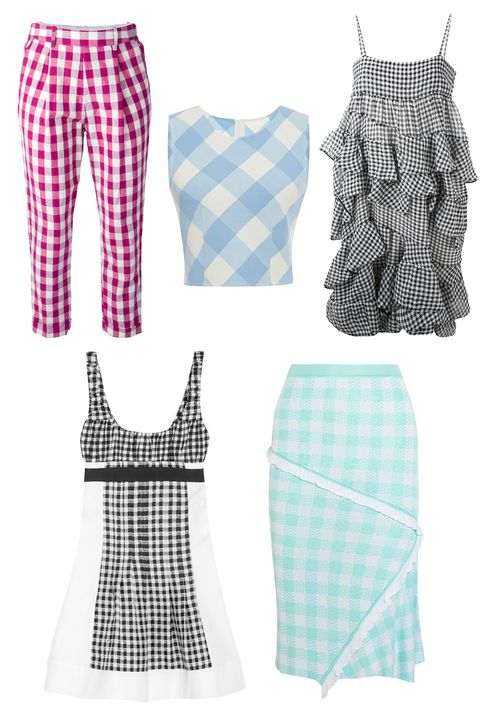 "Erika Cavallini Semi Couture Gingham Cropped Trousers, $151; <a target=""_blank"" href=""http://www.farfetch.com/shopping/women/erika-cavallini-semi-couture-gingham-cropped-trousers-item-10931712.aspx?storeid=9681&amp;ffref=lp_59_5_"">farfetch.com</a>  Oscar de la Renta Wool Checked Crop Top, $508; <a target=""_blank"" href=""https://www.modaoperandi.com/oscar-de-la-renta-ss15/sleeveless-checkered-crop-top"">modaoperandi.com</a>  Chloé Gingham Tiered Dress, $2,190; <a target=""_blank"" href=""http://www.farfetch.com/shopping/women/chloe-gingham-tiered-dress-item-10908153.aspx?storeid=9662&amp;ffref=lp_63_2_"">farfetch.com</a>  Diane von Furstenberg Daisy Gingham Mini Dress, $275; <a target=""_blank"" href=""http://www.net-a-porter.com/us/en/product/536120"">net-a-porter.com</a>  Sibling Gingham Intarsia Knitted Skirt, $162; <a target=""_blank"" href=""http://www.net-a-porter.com/us/en/product/546311"">net-a-porter.com</a>"
