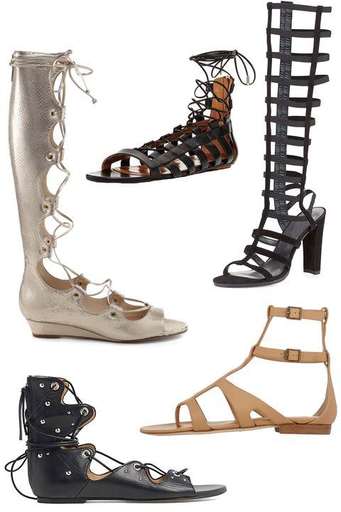 "Schutz Fyonna sandal, $217; <a target=""_blank"" href=""http://shop.schutz-shoes.com/collections/sale/products/fyonna-1"">schutz-shoes.com</a>  Aquazzura Leather Amazon Flats, $375; <a target=""_blank"" href=""https://www.modaoperandi.com/aquazzura-ss15/amazon-flat"">modaoperandi.com</a>  Stuart Weitzman CagedUp Suede Gladiator Sandal, $401; <a target=""_blank"" href=""http://www.bergdorfgoodman.com/Stuart-Weitzman-CagedUp-Suede-Gladiator-Sandal-Black-gladiator/prod107030082___/p.prod?icid=&amp;searchType=MAIN&amp;rte=%2Fsearch.jsp%3FN%3D0%26Ntt%3Dgladiator%26_requestid%3D6599&amp;eItemId=prod107030082&amp;cmCat=search"">bergdorfgoodman.com</a>  IRO Xiri Sandals, $315; <a target=""_blank"" href=""http://www.iroparis.com/us_en/xiri-16007.html"">iroparis.com</a>  Manolo Blahnik Eliza Gladiator Sandals, $309; <a target=""_blank"" href=""http://www.barneys.com/manolo-blahnik-eliza-gladiator-sandals-503778993.html#q=gladiator&amp;start=5"">barneys.com</a>"