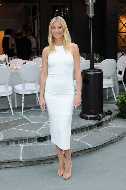 Who: Gwyneth Paltrow  When: 6/8/2015  Why: Clean, chic, and perfect. The nude sandal, the neckline, the tan. It's all working.