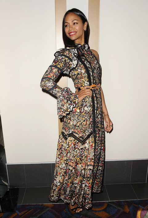 """Who: Zoe Saldana  When: 6/14/2015  Why: This one-shoulder Louis Vuitton gown is also right on trend with <a target=""""_blank"""" href=""""http://www.elle.com/fashion/trend-reports/news/g7953/one-shoulder-trend/"""">spring runways</a>. Saldana is wearing it well, expertly accessorizing with a nude belt and black strappy sandals."""