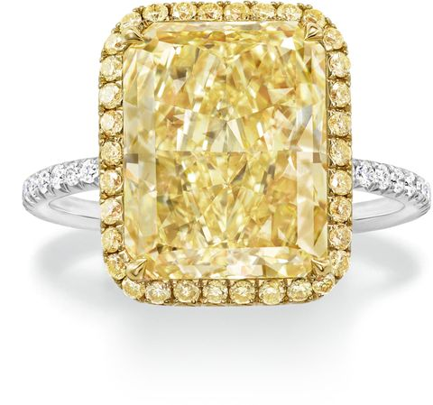 "<p>Harry Winston Micropave Radiant Yellow Diamond Ring set in Platinum and Yellow Gold, Price upon request; <a href=""http://www.harrywinston.com"">harrywinston.com</a></p>"