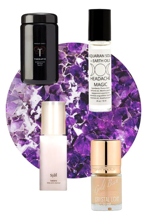 """""""Every crystal has a different vibration, a different healing energy that works with our own chemistry to help restore our bodies to their highest potential,"""" says Ally Sands, herbalist and founder of natural beauty brand Aquarian Soul + Earth Oils. In the case of amethyst, it's all about getting rid of negativity, says expert <a target=""""_blank"""" href=""""http://www.rockwhisperernyc.com/"""">Krista Mitchell</a>. """"It boosts intuition, wards off negative vibes, and protects us from having nightmares,"""" she says. """"It's also a powerful crystal of change and healing, as it supports us in tuning out the negative self-talk and critic we all have in our minds."""" The impact it has on anxiety makes Aquarian Soul's almond oil-based Headache Magic rollerball a deskside staple for stress-induced twinges--not to mention boosts the relaxing power of a bath filled with Therapie Roques O'Neil's gem-infused salts.  <!--?xml version=""""1.0"""" encoding=""""UTF-8"""" standalone=""""no""""?--> Therapie Roques O'Neil Himalayan Detox Salts, $66; <a target=""""_blank"""" href=""""http://www.shen-beauty.com/products/therapie-himalayan-detox-salts"""">shenbeauty.com</a>  Aquarian Soul + Earth Oils Amethyst Headache Oil, $12; <a target=""""_blank"""" href=""""http://www.urbanoutfitters.com/urban/catalog/productdetail.jsp?id=34219410"""">urbanoutfitters.com</a>  TONYMOLY Crystal Light Gold Beam Highlighter, $12; <a target=""""_blank"""" href=""""http://www.urbanoutfitters.com/urban/catalog/productdetail.jsp?id=32659302&amp;color=070&amp;cm_mmc=SEM-_-Google-_-PLA-_-82530778744product_type_l1b%26product_type_l2makeup&amp;adpos=1o1&amp;creative=51648973624&amp;device=c&amp;matchtype=&amp;network=g&amp;gclid=CKPDyYmQmcYCFYOPHwodawsMQQ"""">urbanoutfitters.com</a>  Sjal Balans Deep Pore Cleanser, $70; <a target=""""_blank"""" href=""""http://www.barneys.com/sj%C3%A4l-balans---deep-pore-cleanser-192095007.html"""">barneys.com</a>"""