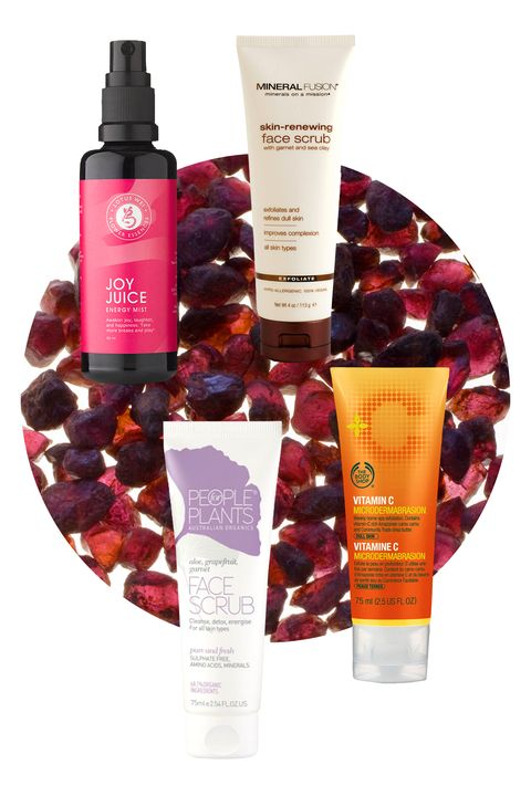 """""""Garnet brings your sexy back,"""" Mitchell says. """"It's a potent crystal of passion, sensuality, beauty, luxury, and wisdom. When wearing garnet you want—and can <em>have</em>—it all."""" It's the idea behind Lotus Wei's aromatherapeutic, rosewood and orange-scented Joy Juice, which is definitely worth keeping around for when you're looking to set the mood. But the fact that garnet is also a relatively soft stone means it makes a great gentle exfoliant, as exemplified by the face scrubs from The Body Shop, Mineral Fusion, and People for Plants.  Lotus Wei Joy Juice Energy Mist, $40; <a target=""""_blank"""" href=""""http://www.rodales.com/flower-essence-energy-mist---joy-juice/E002922001.html?cid=ppc_Google_Rodales_PLA_Tend_FlowerEssenceEnergyMist_Phrase"""">rodales.com</a>  Mineral Fusion Skin-Renewing Face Scrub, $14; <a target=""""_blank"""" href=""""http://www.mineralfusion.com/collections/skin-care/products/skin-renewing-mineral-face-scrub?variant=1235088003"""">mineralfusion.com</a>  The Body Shop Vitamin C Microdermabrasion, $22; <a target=""""_blank"""" href=""""http://www.thebodyshop-usa.com/skin-care/skincare-top-rated/vitamin-c-microdermabrasion.aspx"""">thebodyshop-usa.com</a>  People for Plants Garnet Face Scrub, $25; <a target=""""_blank"""" href=""""http://www.peopleforplants.com.au/aloe-grapefruit-garnet-face-scrub.html"""">peopleforplants.com</a>"""