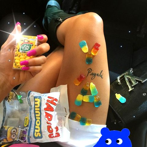 The British model/DJ proves that candy-colored nails never go out of style.
