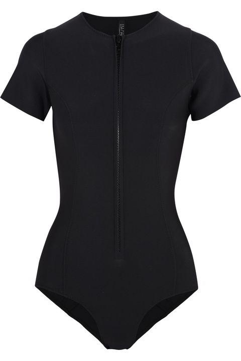 "Lisa Marie Fernandez The Farrah neoprene swimsuit, $395; <a target=""_blank"" href=""https://www.ssense.com/en-us/women/product/lisa-marie-fernandez/black-neoprene-farrah-swimsuit/350803"">ssense.com</a>"