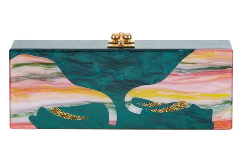 "Edie Parker Flavia Trunk, $1,495; <a href=""http://edie-parker.com/collections/all-products/products/flavia-trunks-hunter-green-multi"">edie-parker.com</a>"