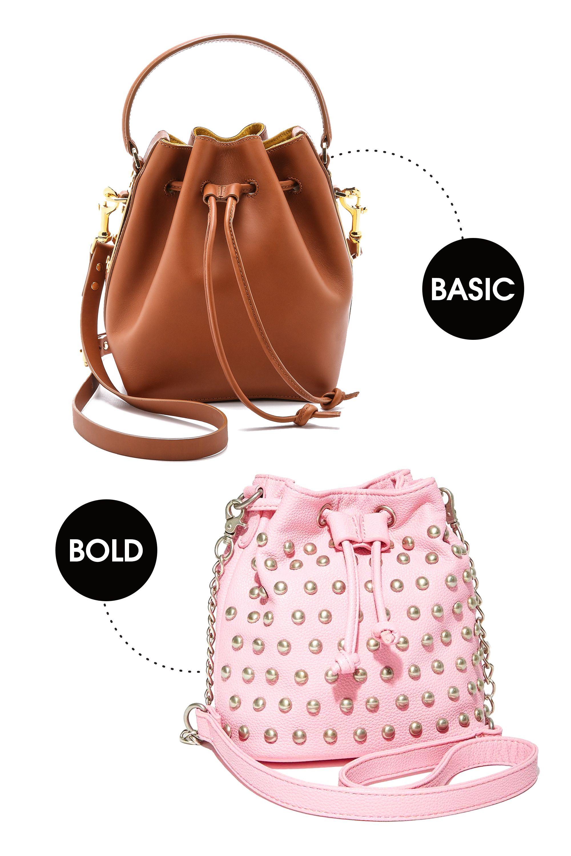 "Sophie Hulme Smalle Drawstring Bucket Bag, $825; <a href=""http://www.shopbop.com/small-drawstring-bucket-sophie-hulme/vp/v=1/1553057079.htm?folderID=21641&fm=other-viewall&os=false&colorId=11841"">shopbop.com</a>  Nasty Gal The Stud Out Mini Bucket Bag, $45; <a href=""http://www.nastygal.com/accessories-bags-backpacks/the-stud-out-mini-bucket-bag"">nastygal.com</a>"