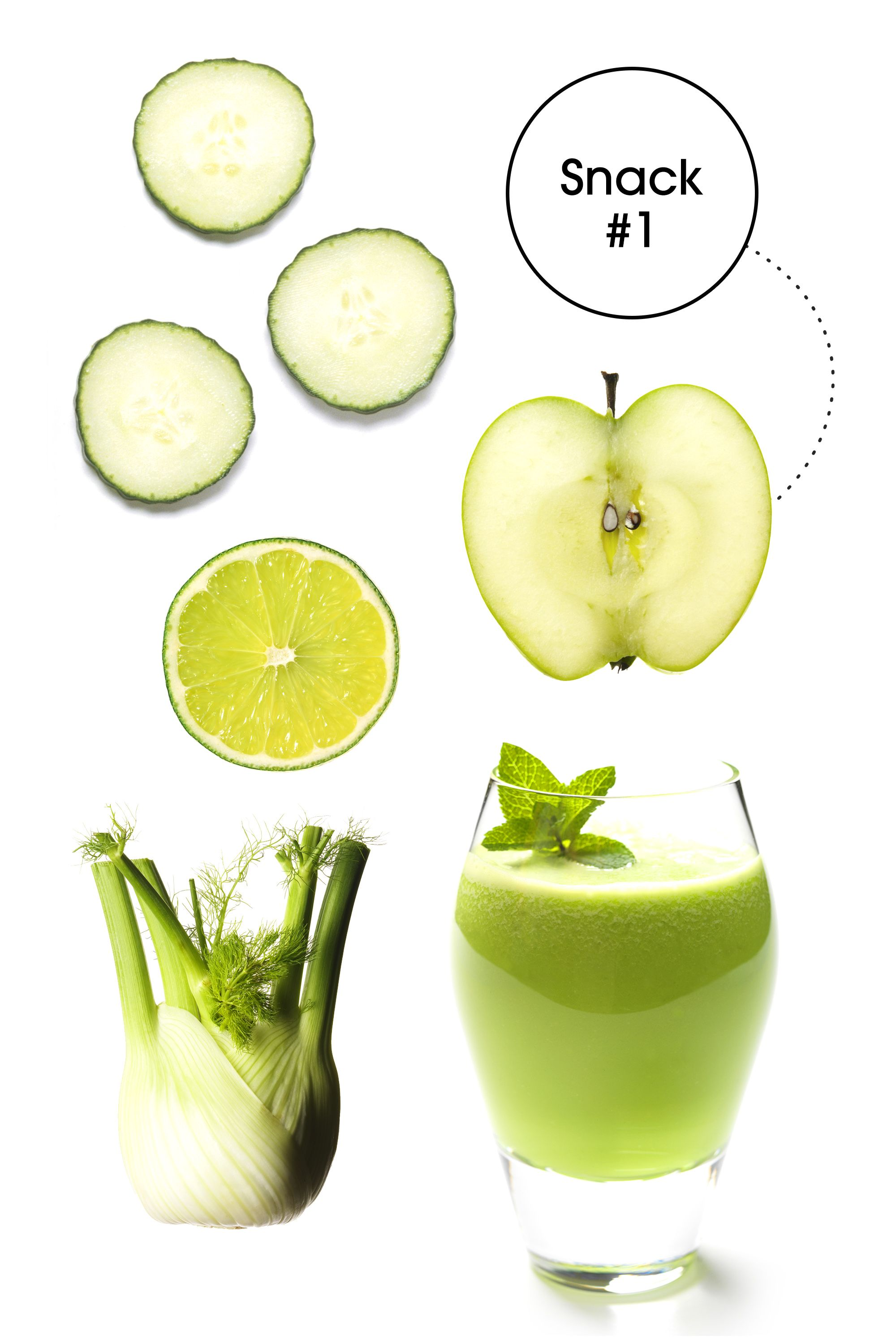 "<strong>Green Juice: </strong>""Packed with chlorophyll and potassium, this juice helps to alkalize and vitalize the body so you avoid that 3 P.M. afternoon slump, which inevitably has you reaching for office candy and more caffeine,"" James says."