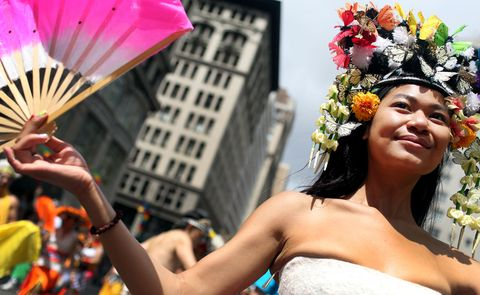 NEW YORK - JUNE 28: Participants from the Indonesian LGBT society of New York march in the Gay Pride Parade on June 28, 2015 in New York City. The parade is being held  two days after the U.S. Supreme Court's landmark decision siding with the right for gay marriage in the U.S.  (Photo by Yana Paskova/Getty Images)