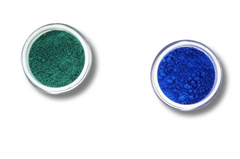 "Made from crushed minerals and semiprecious stones,<a target=""_blank"" href=""http://occmakeup.com/products/pure-cosmetic-pigments"">OCC Pure Cosmetic Pigments</a> (shown in Turquoise and Royal Blue) deliver a blast of intense matte color to lids."