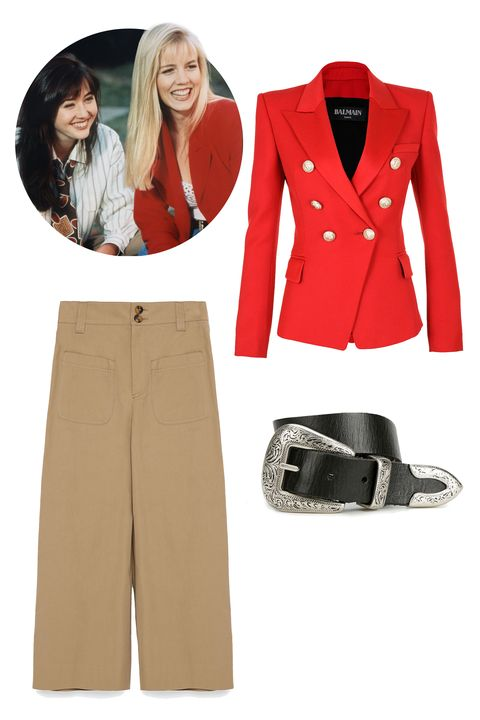 "Balmain Double-Breasted Wool Blazer, $2,390; <a href=""http://www.balmain.com/en_us/women/outerwear/double-breasted-wool-blazer-2.html"">balmain.com</a>  Ecote Metal-Tipped Leatehr Belt, $29; <a href=""http://www.urbanoutfitters.com/urban/catalog/productdetail.jsp?id=32648073&amp;category=W_ACC_BELTS"">urbanoutfitters.com</a>  Zara Cropped Studio Trousers, $100; <a href=""http://www.zara.com/us/en/collection-aw15/woman/trousers/cropped-studio-trousers-c269187p2775618.html"">zara.com</a>"