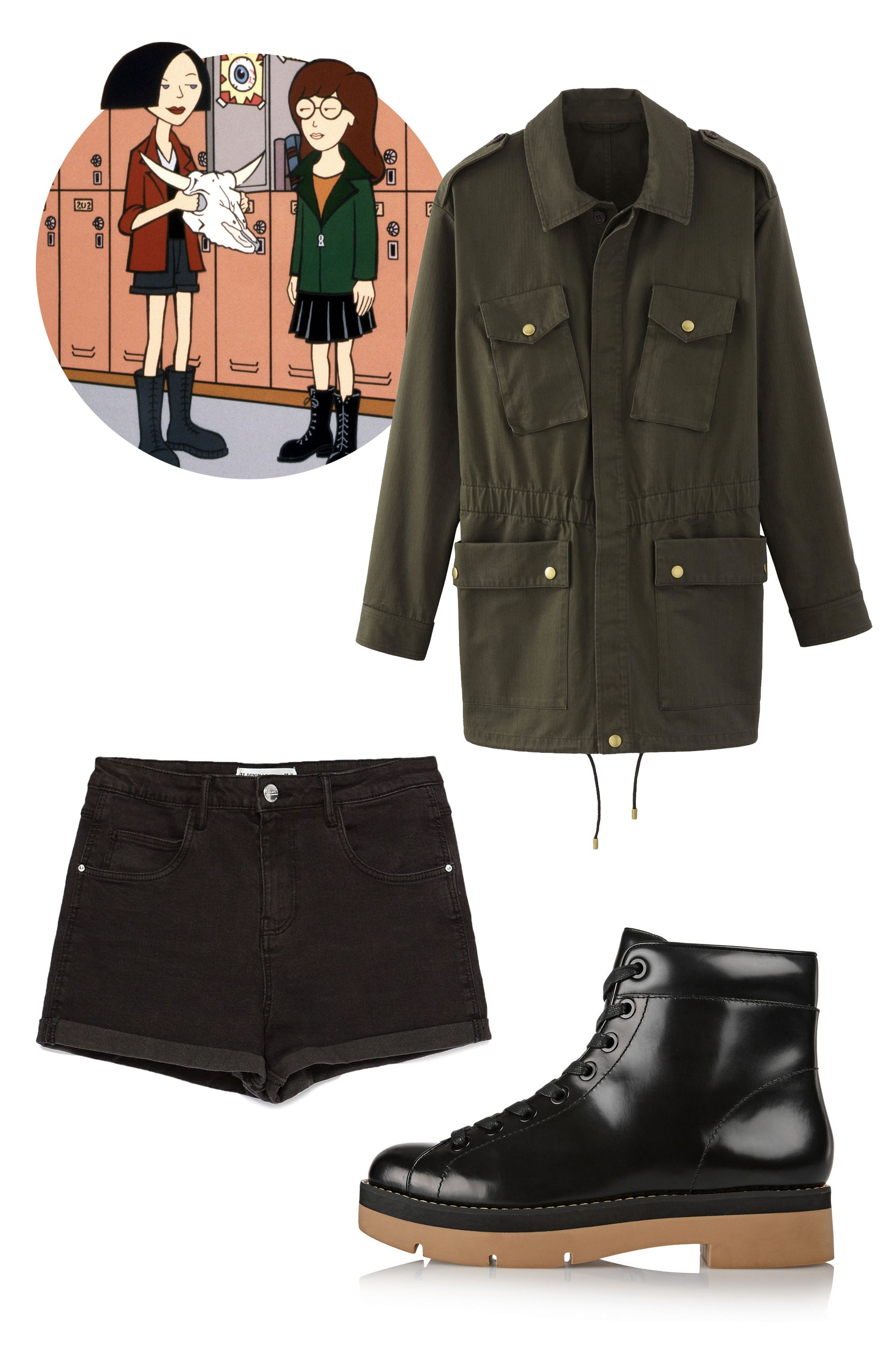 "A.P.C. Wild Parker, $495; <a href=""http://usonline.apc.fr/women/clothing/coats-parka/wild-parka-coawm-f30036#Military khaki&22"">apc.fr</a>  Zara High Waist Shorts, $26; <a href=""http://www.zara.com/us/en/collection-aw15/woman/shorts/high-waist-shorts-c733903p2774267.html"">zara.com</a>  Alexander Wang Genevieve Patent Leather Ankle Boots, $595; <a href=""http://www.net-a-porter.com/us/en/product/568288"">net-a-porter.com</a>"